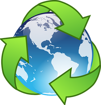 world with recycling symbol remembering to start recycling at home